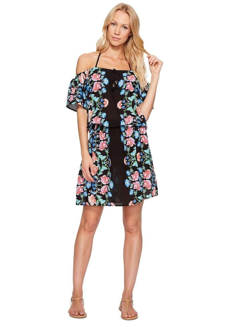 Nanette Lepore Damask Floral Off the Shoulder Short Dress Cover-Up