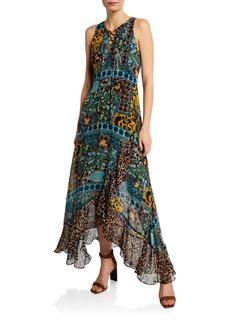 Nanette Lepore Exotic Sleeveless Lace-Up Multi-Print Maxi Dress
