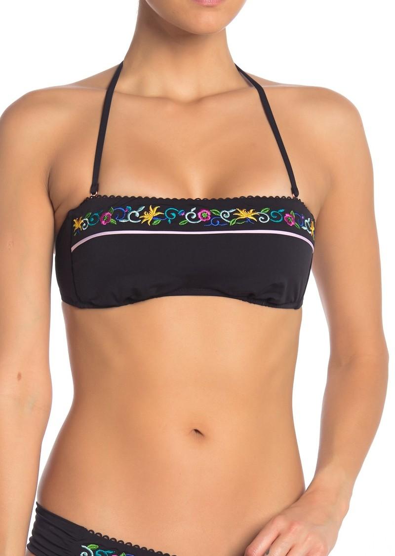 Nanette Lepore Femme Noir Tease Embroidered Bandeau Bikini Top