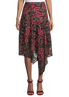 Nanette Lepore First Bet Floral Skirt w/ Asymmetric Hem