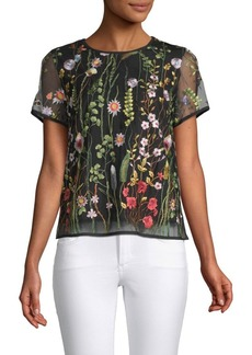 Nanette Lepore Floral-Embroidered Cut-Out Top