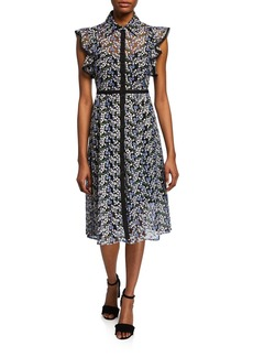 Nanette Lepore Floral Embroidered Spread Collar Dress