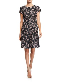 Nanette Lepore Floral Jacquard Cap-Sleeve Zip Dress