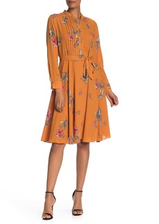 Nanette Lepore Floral Pintuck Long Sleeve Dress