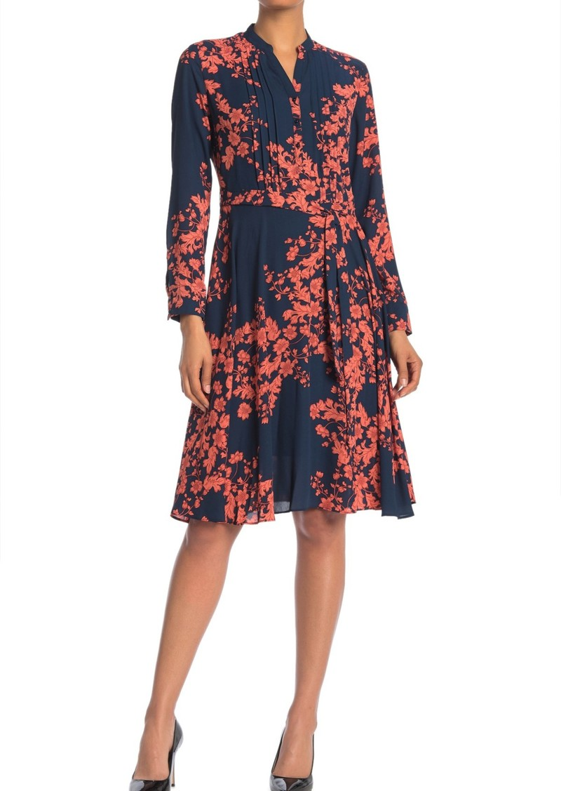 Nanette Lepore Floral Pintuck Long Sleeve Dress (Regular & Plus Size)