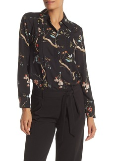 Nanette Lepore Floral Pleated Trim Spread Collar Shirt