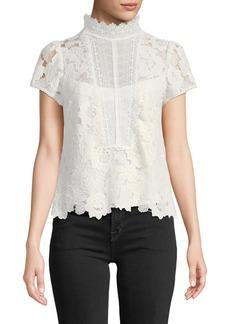 Nanette Lepore Flower Lace Short-Sleeve Top