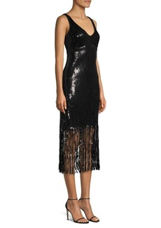 Nanette Lepore Funkytown Sequin Fringe Slip Dress
