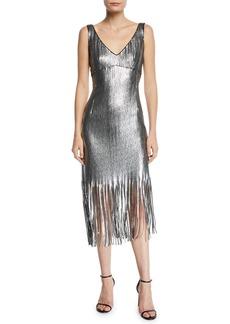 Nanette Lepore Funkytown Sequin Mid-Length Slip Dress with Fringe