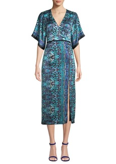 Nanette Lepore Jokers Short-Sleeve Printed Midi Dress