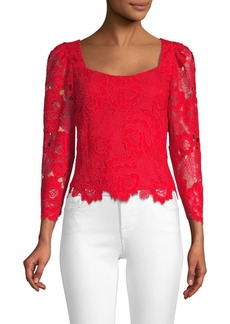 Nanette Lepore Lace Puff Sleeve Top