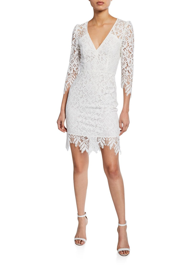 Nanette Lepore Late Night 3/4-Sleeve Mini Lace Dress