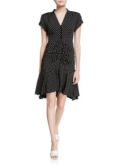 Nanette Lepore Liberation Polka-Dot V-Neck Short-Sleeve Dress
