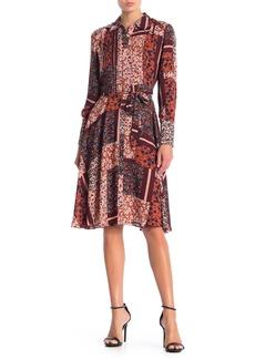 Nanette Lepore Long Sleeve Belted Floral Print Pintuck Dress