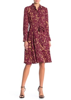 Nanette Lepore Long Sleeve Belted Floral Print Pintuck Dress