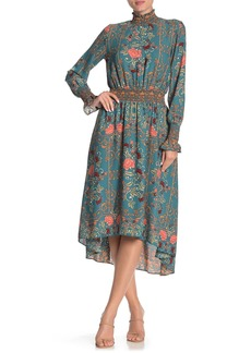 Nanette Lepore Long Sleeve Mock Neck Printed High/Low Dress