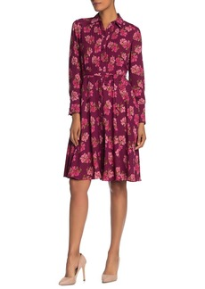Nanette Lepore Long Sleeve Pintuck Pleat Floral Print Dress