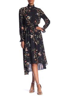 Nanette Lepore Long Sleeve Smocked Print Dress