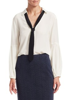 Nanette Lepore Long Sleeve Tie Neck Silk Top