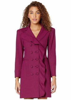 Nanette Lepore Mini Houndstooth Ruffle Coat Dress