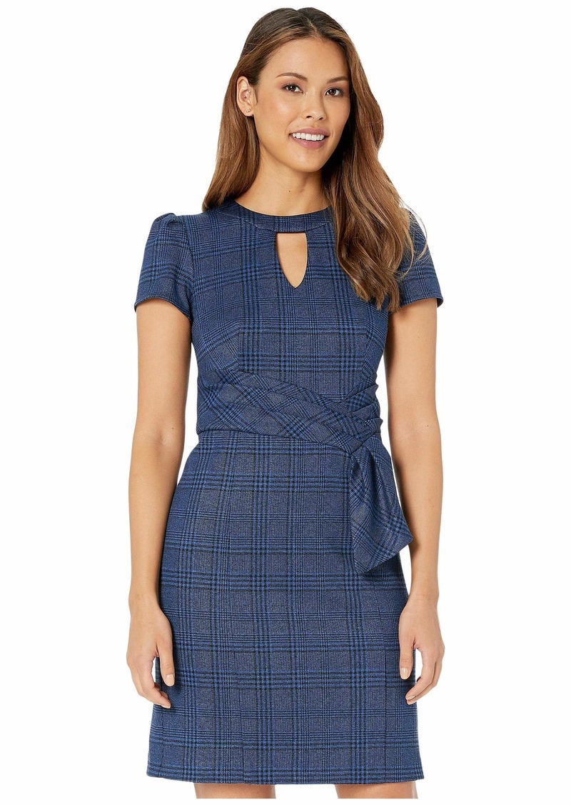 Nanette Lepore Monochrome Plaid Faux Belt Dress