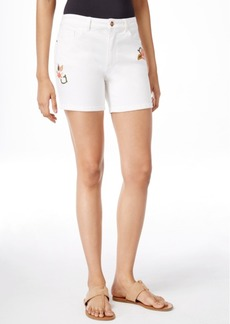 Nanette by Nanette Lepore Embroidered White Denim Bermuda Shorts, Only at Macy's