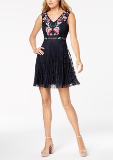 Nanette by Nanette Lepore Floral-Embroidered Lace Fit & Flare Dress, Created for Macy's