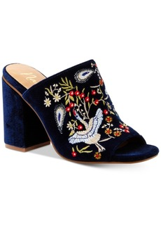 Nanette by Nanette Lepore Marsha Embroidered Slide Block-Heel Sandals Women's Shoes