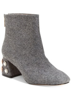 Nanette by Nanette Lepore Rose Pearl Embellished Pearl Block-Heel Booties Women's Shoes
