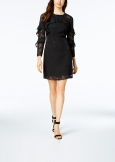 Nanette by Nanette Lepore Ruffled Clip Jacquard Shift Dress, Created for Macy's