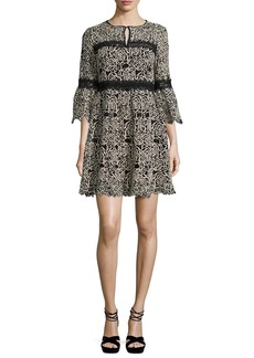 Nanette Lepore 3/4-Sleeve Embroidered Floral Mini Dress