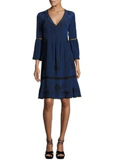 Nanette Lepore 3/4-Sleeve Embroidered Silk Dress
