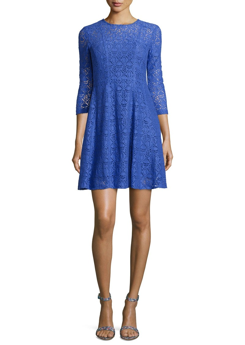 Nanette Lepore 3/4-Sleeve Lace Fit & Flare Dress