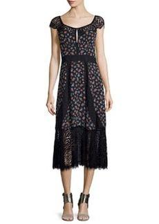 Nanette Lepore Cap-Sleeve Floral Silk & Lace Midi Dress