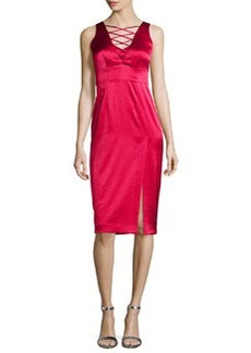 Nanette Lepore Sleeveless Lace-Up Satin Dress W/ Slit