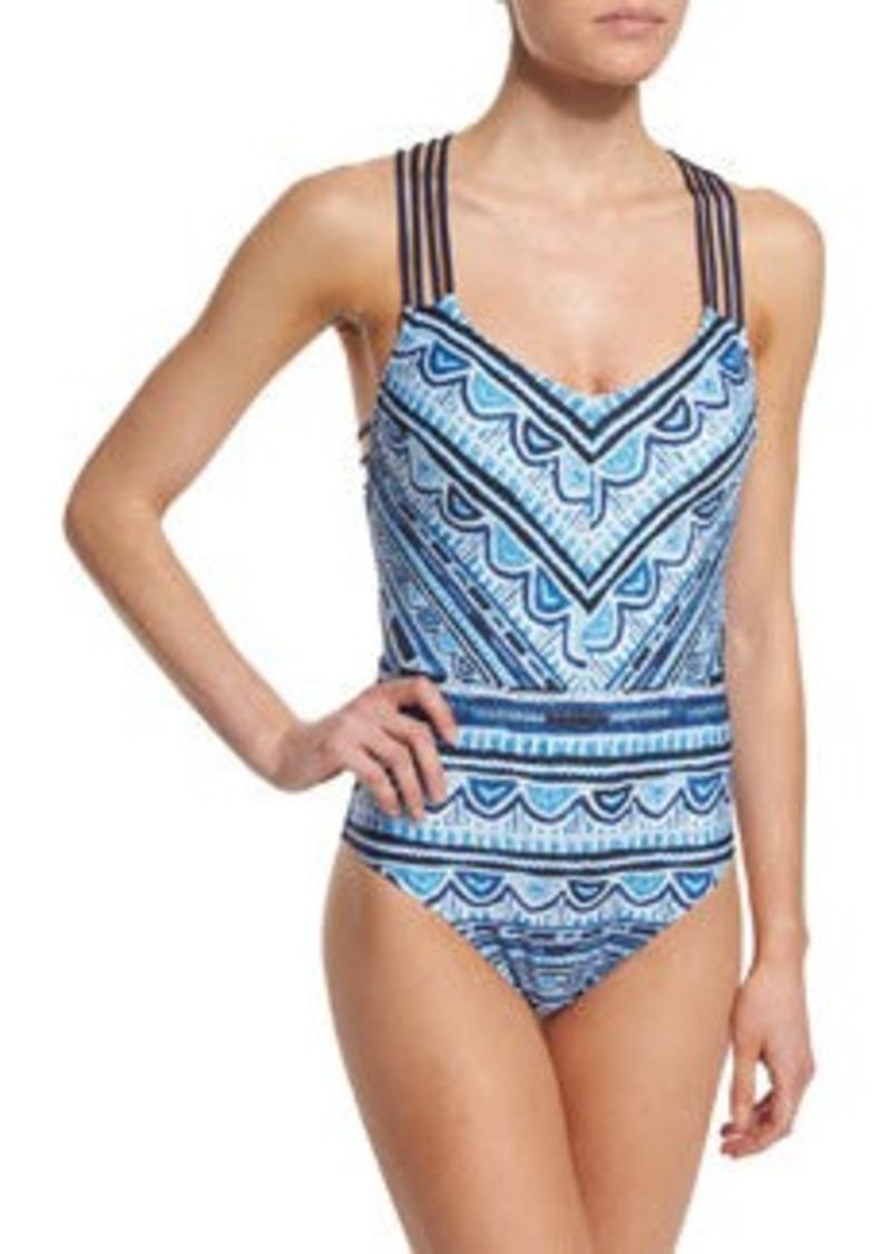 Nanette Lepore Santorini Scallop Printed Strappy One-Piece Swimsuit