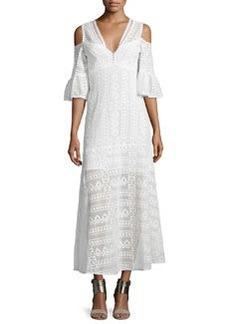 Nanette Lepore Cold-Shoulder Cotton Lace Midi Dress