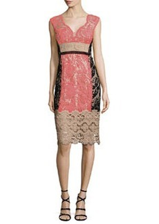 Nanette Lepore Cap-Sleeve Lace Colorblock Cocktail Dress