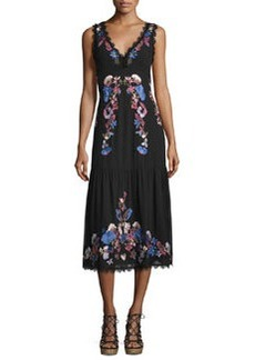 Nanette Lepore Sleeveleess Embroidered Chiffon Midi Dress