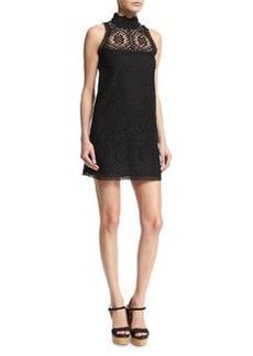 Nanette Lepore Sleeveless Crochet Mock-Neck Dress