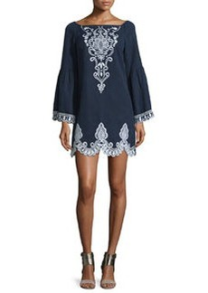 Nanette Lepore Long-Sleeve Embroidered Linen Shift Dress