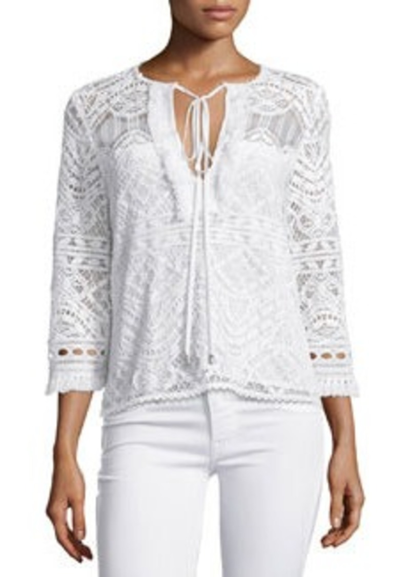 Nanette Lepore 3/4-Sleeve Lace Embroidered Top