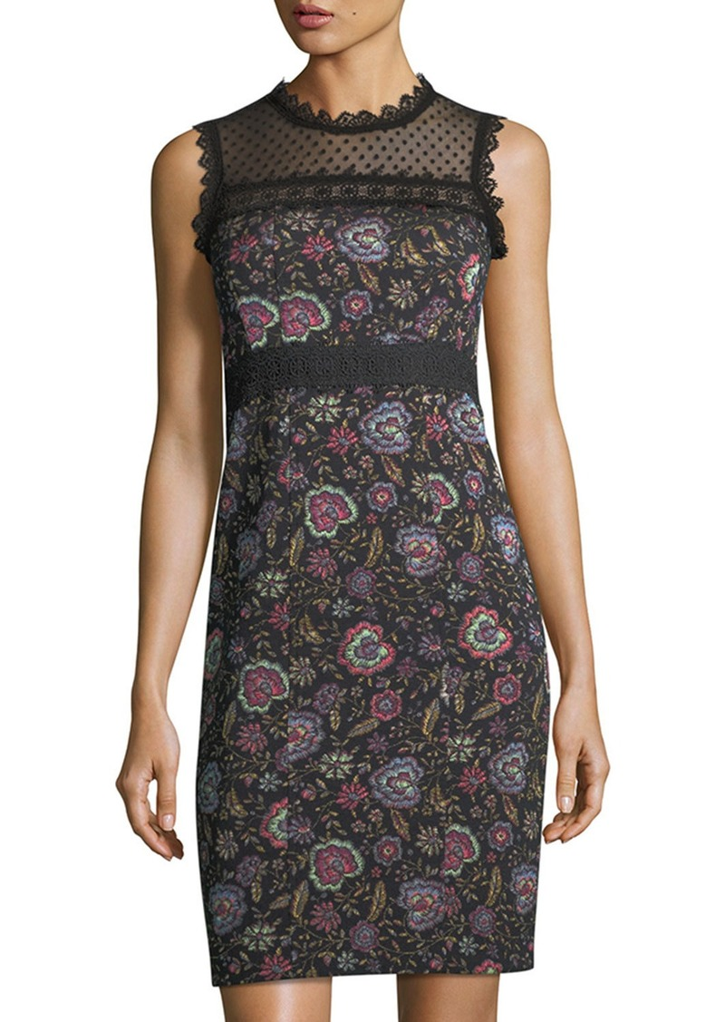Nanette Lepore Adela Floral-Jacquard Sleeveless Sheath Dress w/ Lace Inset