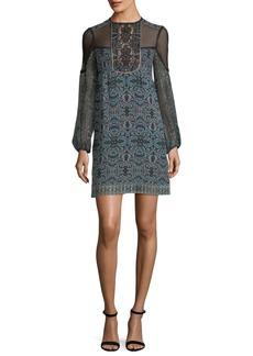Nanette Lepore Adeline Mock-Neck Printed Silk Shift Dress