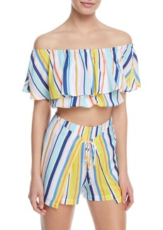 Nanette Lepore Amalfi Coast Off-the-Shoulder Striped Crop Top