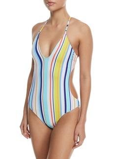 Nanette Lepore Amalfi Coast Striped Goddess One-Piece Swimsuit