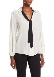 Nanette Lepore Badgirl Silk Top w/ Tie
