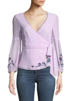 Nanette Lepore Balance Embroidered Wrap Top