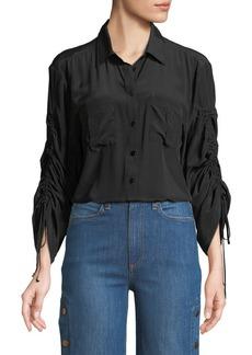 Nanette Lepore Beach Boy Ruched-Sleeve Silk Top