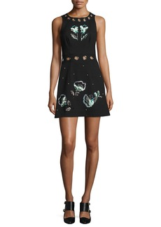 Nanette Lepore Beach Party Sleeveless Embellished Jacquard Mini Dress